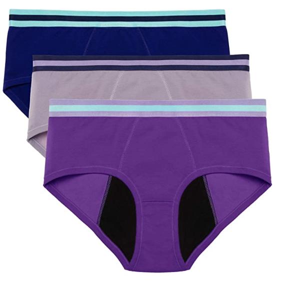 intimate portal lot de trois culottes menstruelles colorées